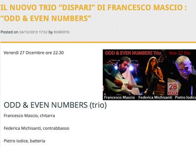 """Il nuovo trio """"dispari"""" di Francesco Mascio : """"Odd & Even Numbers"""""""